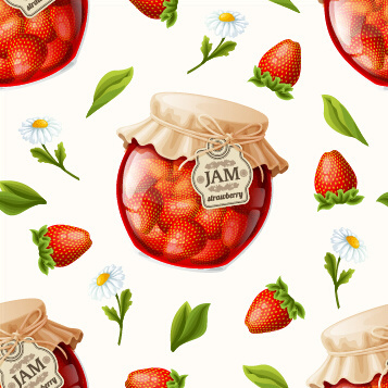 creative jam jar with fruit vector seamless pattern
