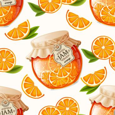 creative jam jar with fruit vector seamless pattern