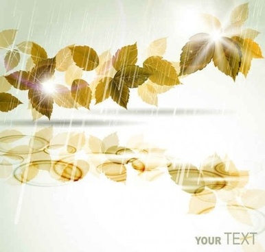 creative leaves with rain vectors background