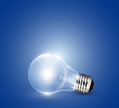 creative light bulb and blue background vector graphics