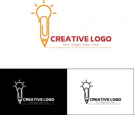creative logo design sets bulbs and pen sketch