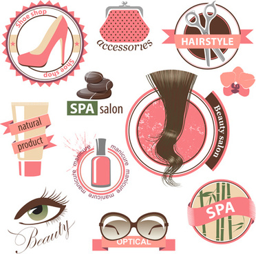 creative makeup logos and labels vector