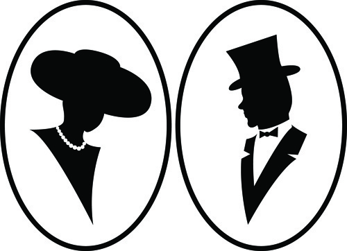 creative man and woman silhouettes vector set