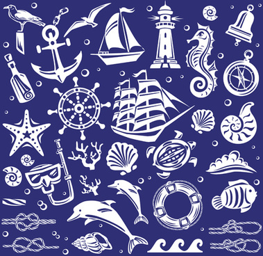 creative marine elements vector pattern