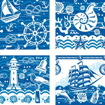 creative marine elements vector pattern