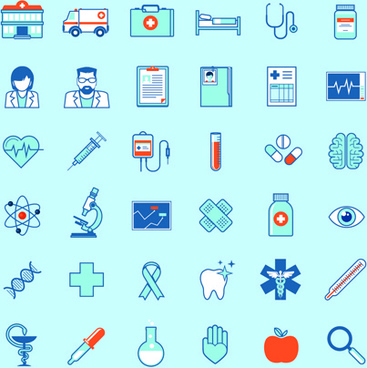 creative medical outline icons vector set