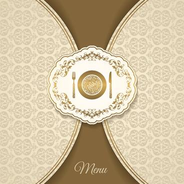 creative menu vintage floral style vector