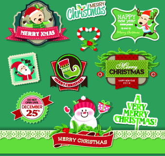 creative merry christmas labels vector