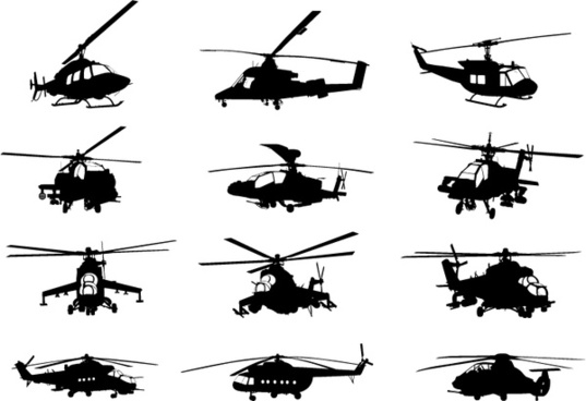 creative military helicopter silhouette vector