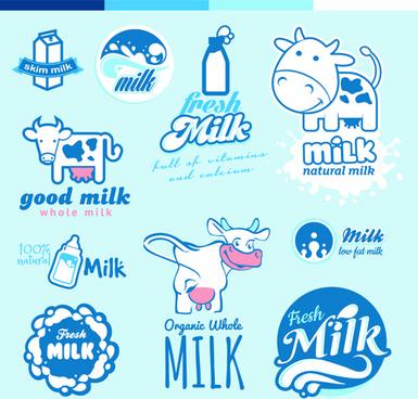 creative milk labels with logos design vector