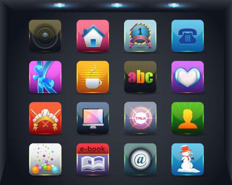 creative mobile application icon set