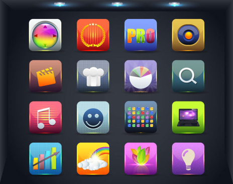 creative mobile application icon set