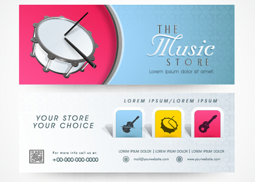 creative music banners set vector