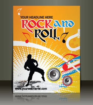 creative music flyer rock and roll design vector