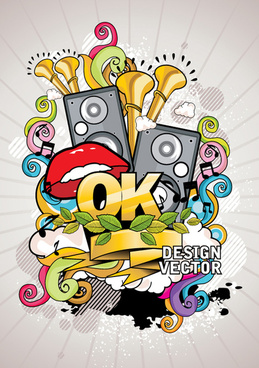 creative music style design elements vector