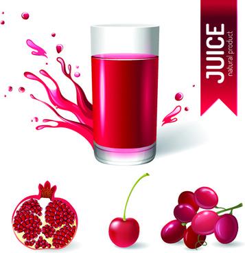 creative natural juice poster vector