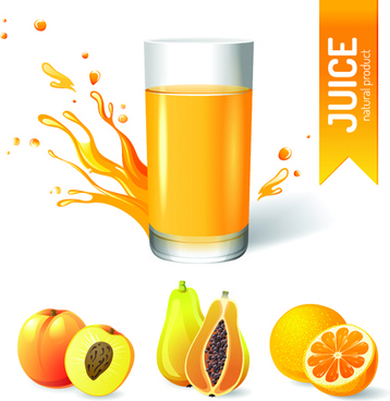 creative natural juice poster vector