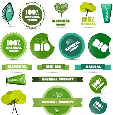 creative natural product stickers and labels vector
