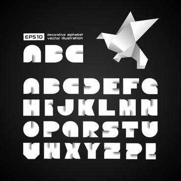 creative origami alphabet vector