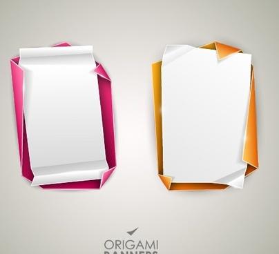 creative origami banner design vector
