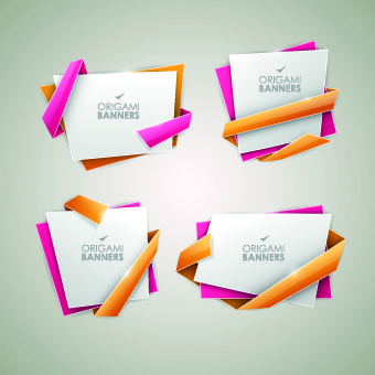 creative origami banner vector graphics