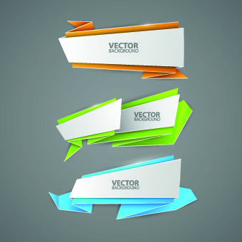 creative origami paper banner design vector set