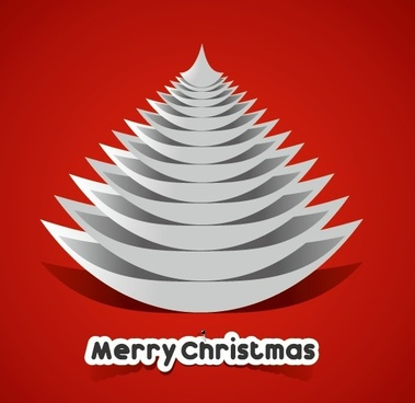 creative paper christmas tree background vector