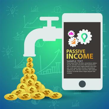 creative passive income money background vector