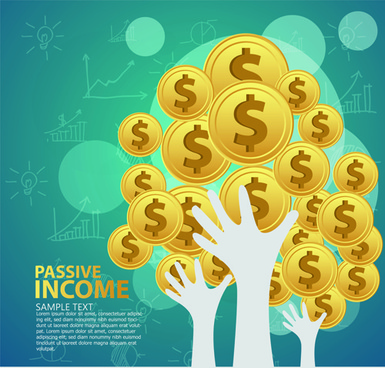 creative passive income money background vector