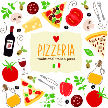 creative pizza design elements vector