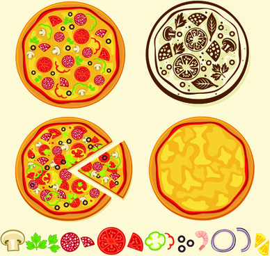 creative pizza design elements vector set