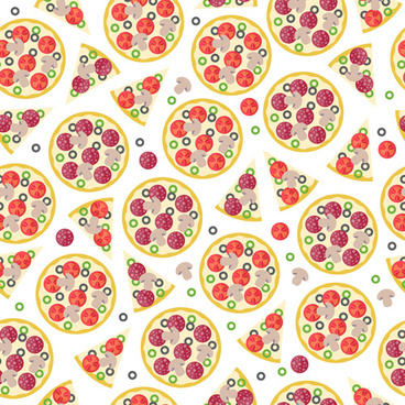 creative pizza seamless pattern vector set