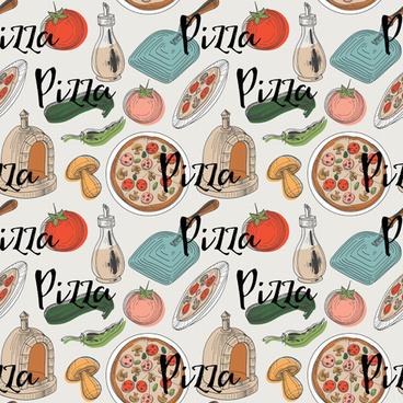 creative pizza seamless pattern vector set