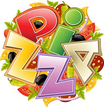 creative pizza slices design vector background