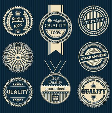 creative premium quality round labels with badge vector