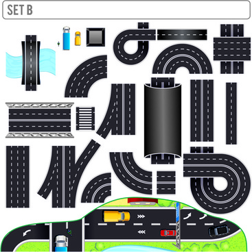 creative road design elements vector