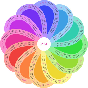 creative round calendars14 vector