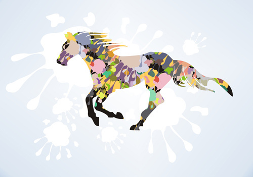 creative running horse design vector set