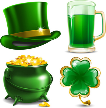 creative saint patrick day elements icons vector
