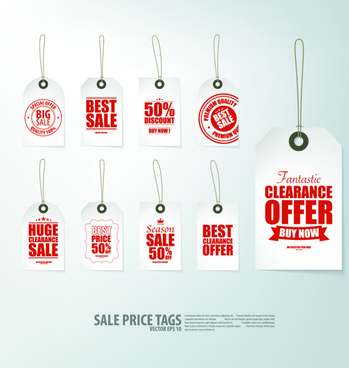 creative sale price tags vector set