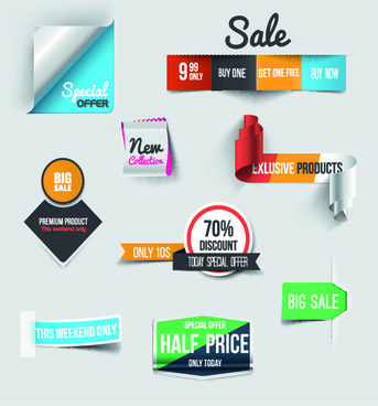 creative sale sticker with labels design