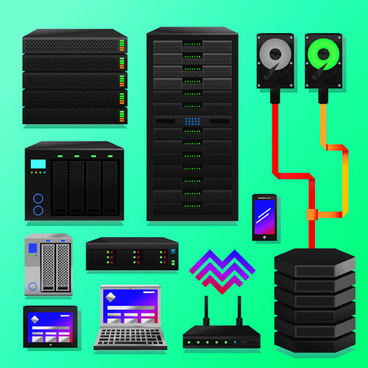 creative server design elements vector
