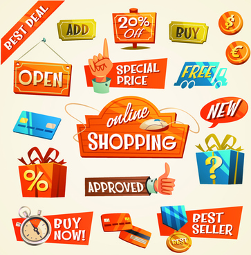 creative shopping elements set vecter