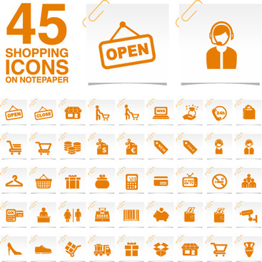 creative shopping icons stickers vector