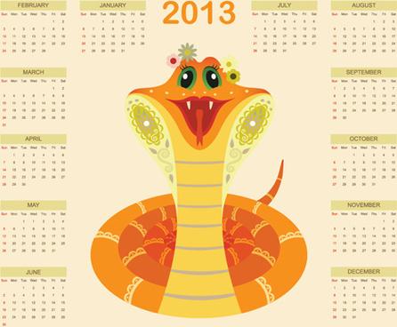 creative snake calendar13 design vector set