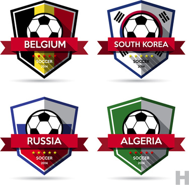 creative soccer vector labels set