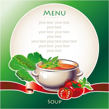 creative soup menu cover vector