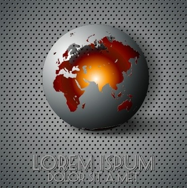 creative sphere and metal background vector