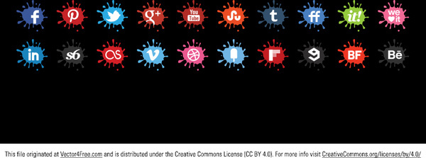 creative splat vector icons set