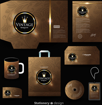 creative stationery cover kit vector set